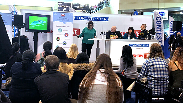 CAA in collaboration with OPP discussing cannabis-impaired driving penalties at the 2019 Canadian International Auto Show.