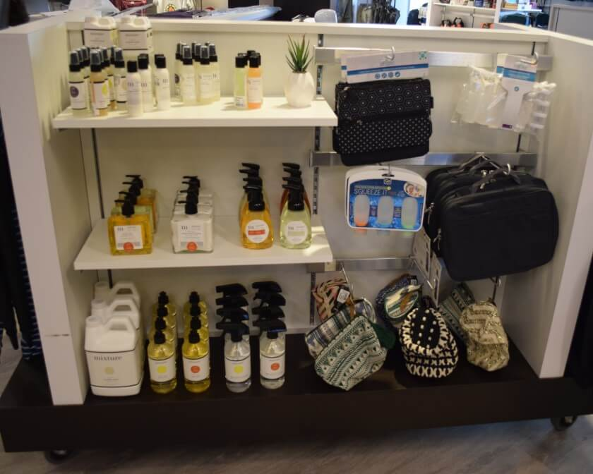 Travel sized soaps, lotions and accessory bags.