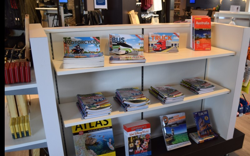 Display of tour and travel books.